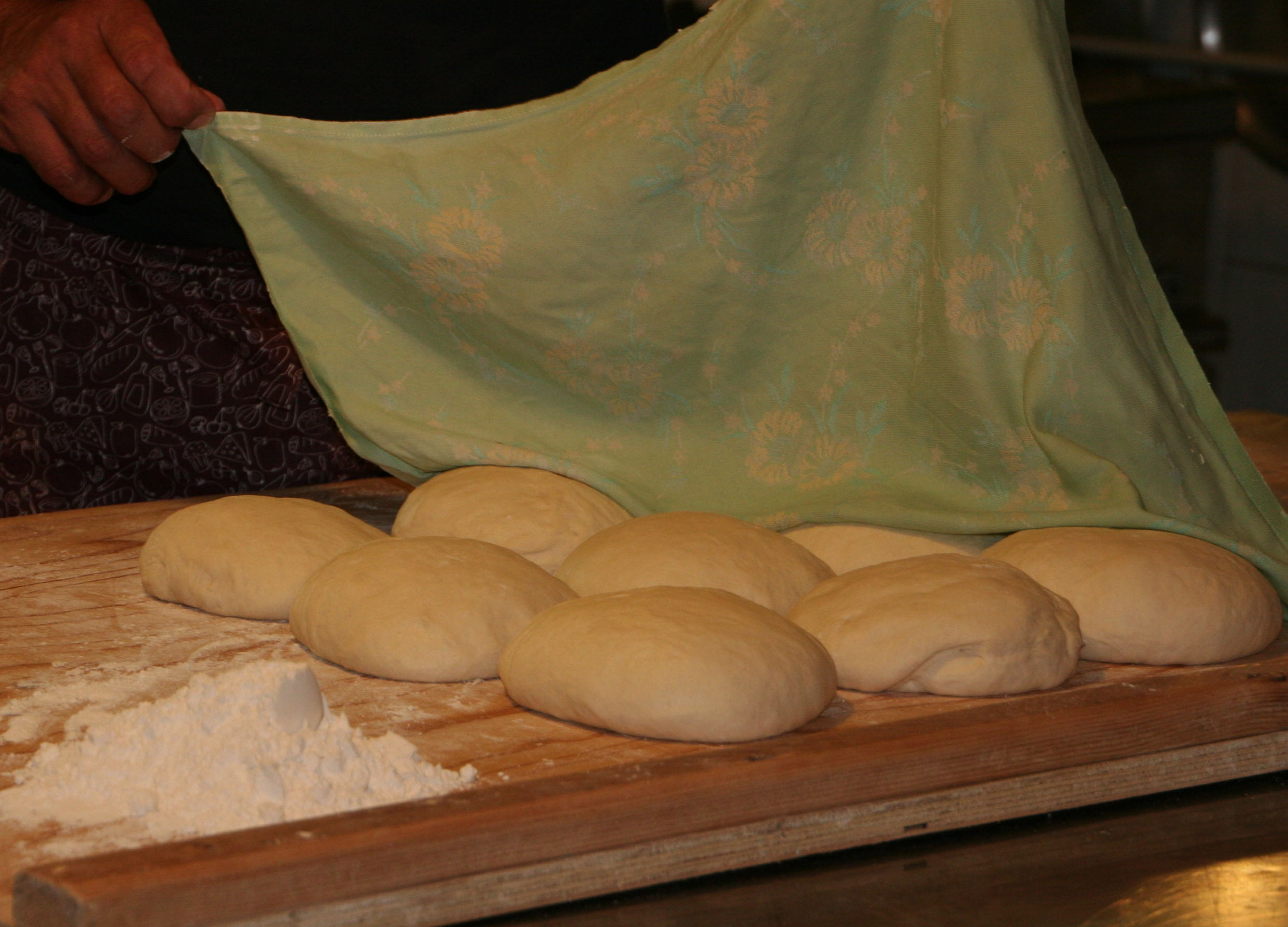 making the bread in the old traditional way